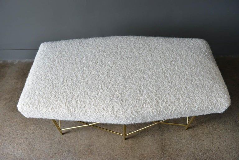 Ivory Bouclé and Brass X-Base Ottoman or Bench, circa 1970 3
