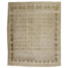 Ivory Brown Antique Persian Tabriz Room Size Rug