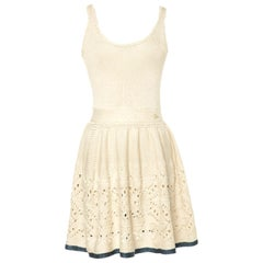 Ivory Chanel Crochet Knit Dress with Seafoam Trimming