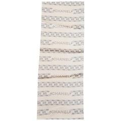 Ivory Chanel Logo Silk Scarf