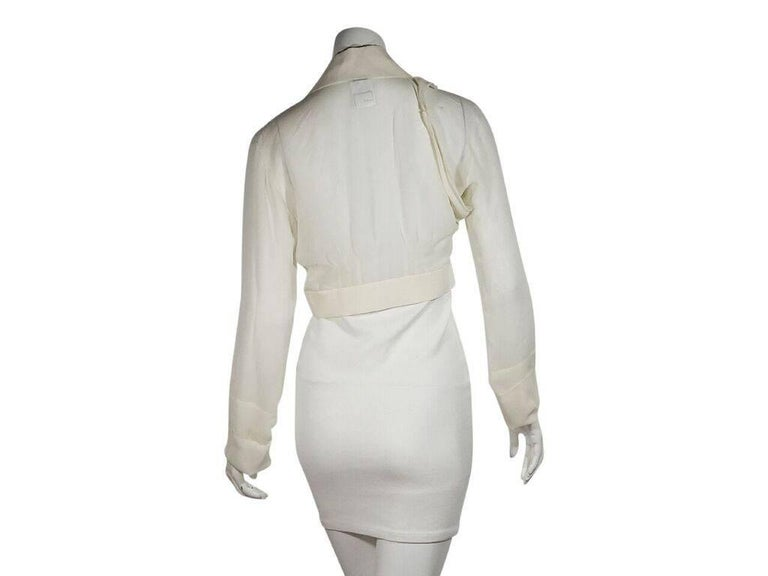 Gray Ivory Chanel Silk Cropped Blouse For Sale