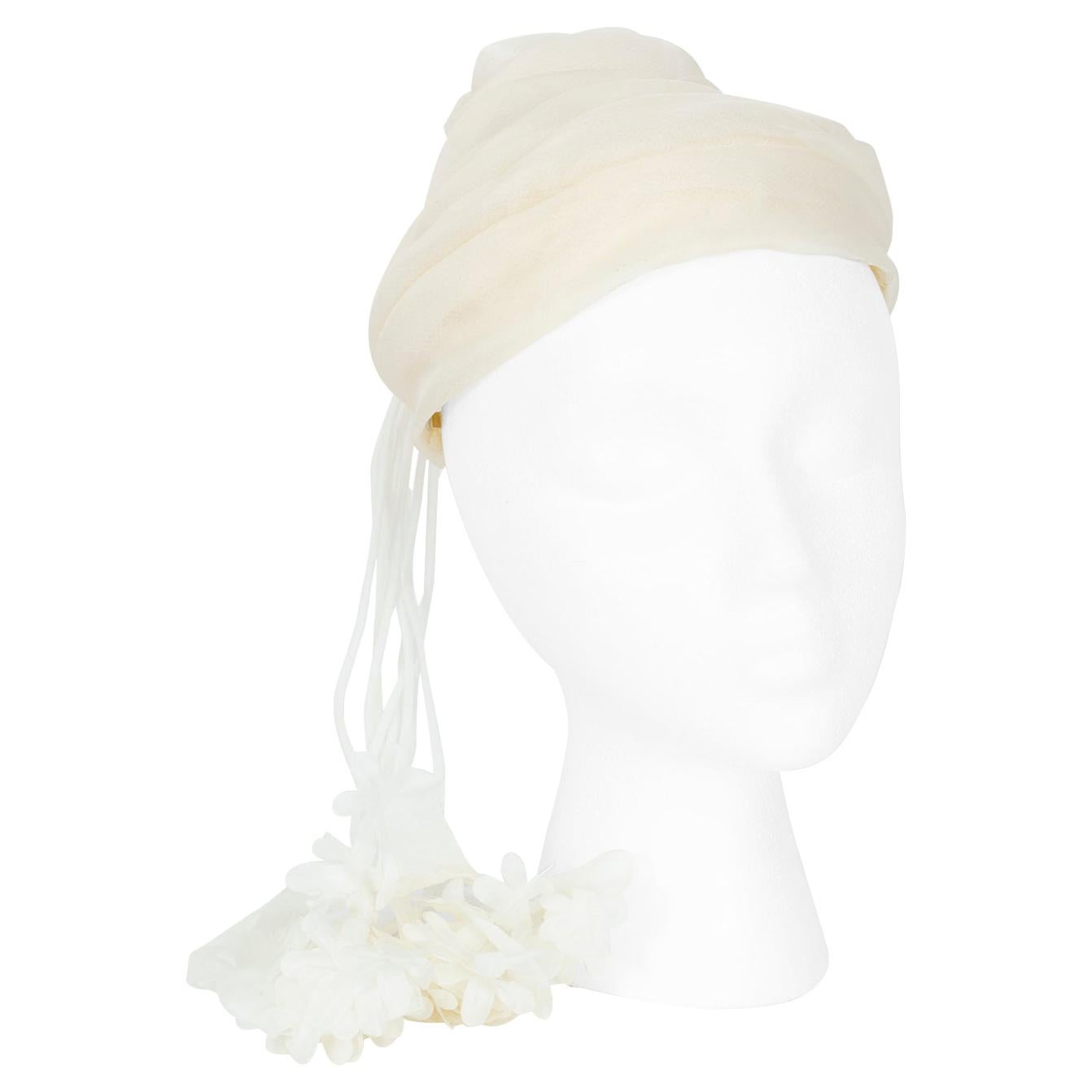 Ivory Chiffon Peaked Wedding Cocktail Twist Cap with Floral Tassels - S-M, 1950s