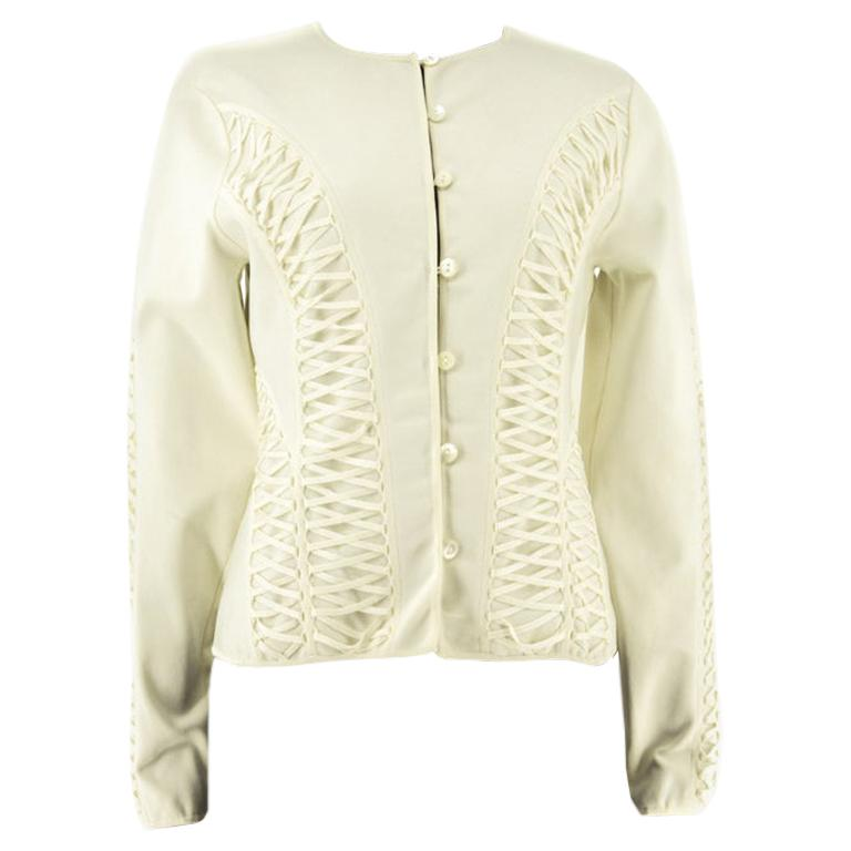 Ivory Christian Dior Lace-Up Knitted Jacket Circa 2010