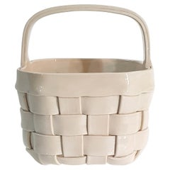 Ivory Colored Ceramic Basket, Italy, 1970s