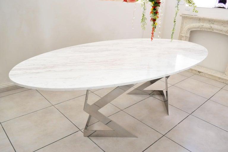 'Ivory Diamond' Ovaler Esstisch in Griechischen Weißen Marmor 2