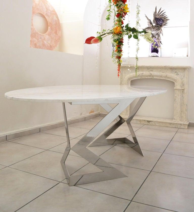 'Ivory Diamond' Ovaler Esstisch in Griechischen Weißen Marmor 4