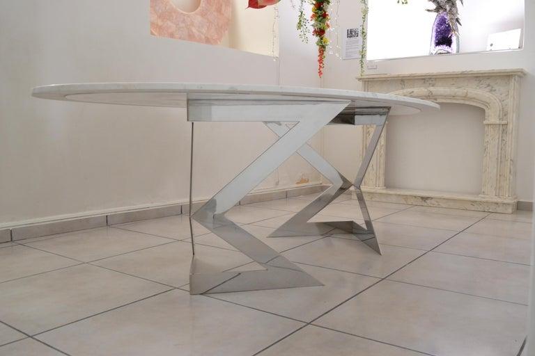 'Ivory Diamond' Ovaler Esstisch in Griechischen Weißen Marmor 6