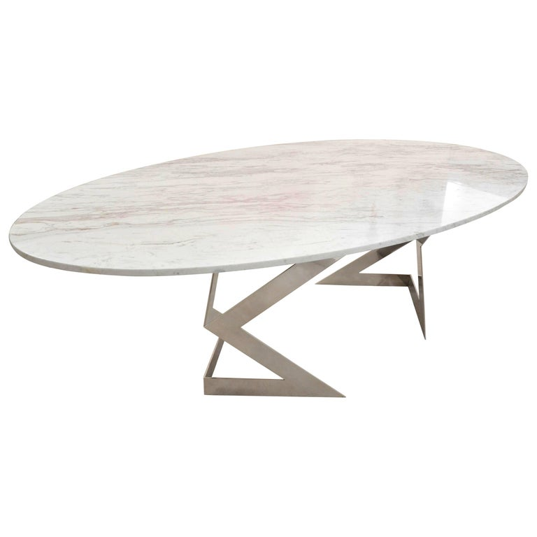 Ivory Diamond 10 Seater Oval Dining Table In Greek White Marble For