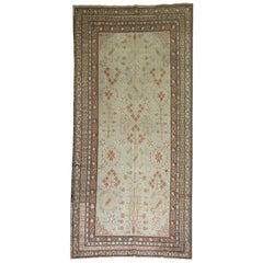 Ivory Early 20th Century Wool Hand Knotted Khotan Gallery Size Rug