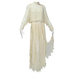 Ivory Edwardian Reproduction Ornamented Silk Tea or Bridal Gown - Small, 1980s