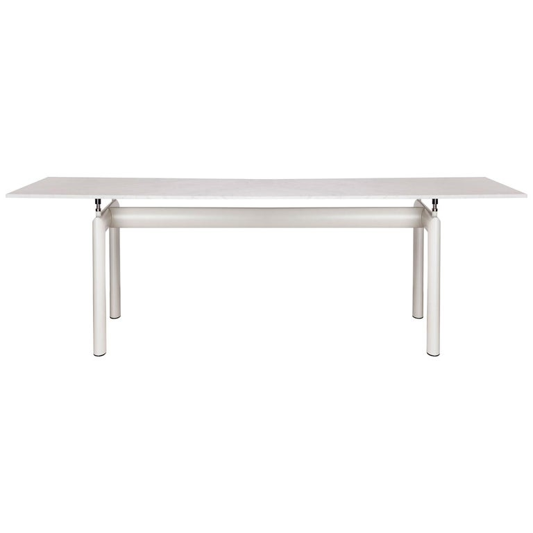 Ivory Enamel Steel Base With White Carrara Marble Top LC 6 Table For Sale