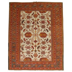Ivory Field Antique Turkish Oushak Carpet, Late 19th Century