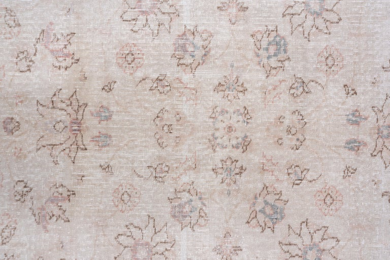 Wool Ivory Field Turkish Oushak Carpet, circa 1940s, Lightly Distressed, Pink Accents For Sale