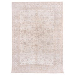 Ivory Field Turkish Oushak Carpet, circa 1940s, Lightly Distressed, Pink Accents
