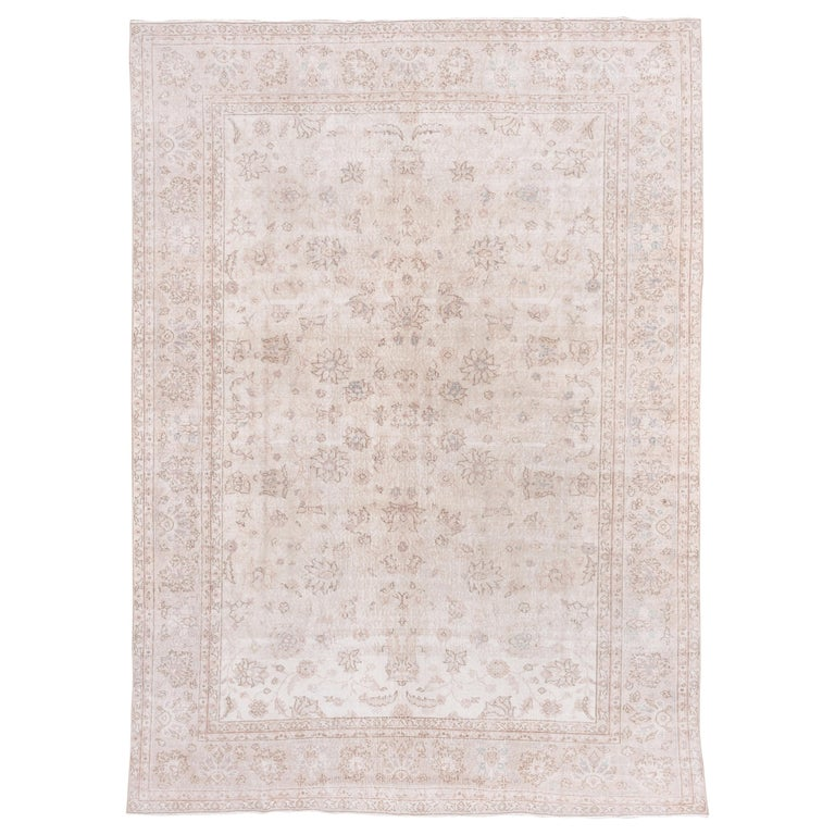 Ivory Field Turkish Oushak Carpet, circa 1940s, Lightly Distressed, Pink Accents For Sale