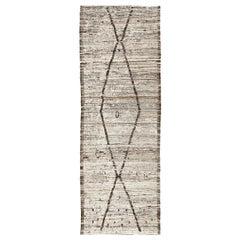 Ivory Geometric Design Berber Style Runner Rug