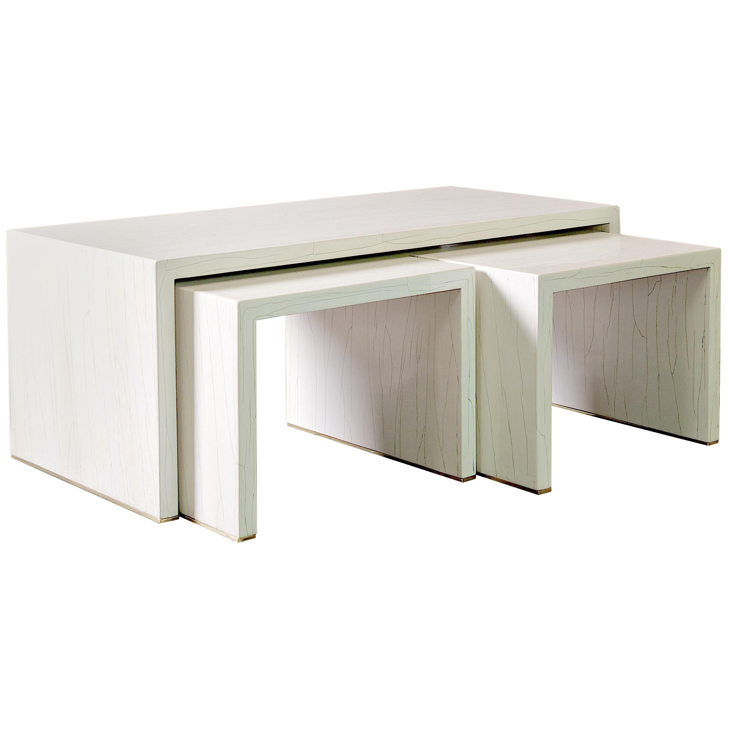 Ivory Gesso Nesting Coffee Table in White Finish by Elan Atelier