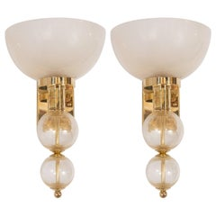 Ivory Glass Cups and Gold Hand Blown Murano Glass and Brass Sconces, Italy