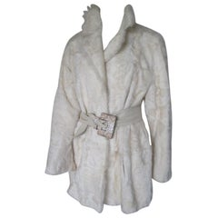 Ivory Goat Lamb Fur Coat Light weight