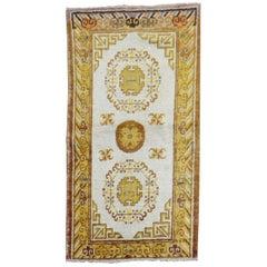 Ivory Gold Antique Khotan Scatter Rug