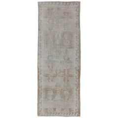 Ivory, Gray, and Blush Antique Turkish Kilim Flat-Weave Gallery Rug