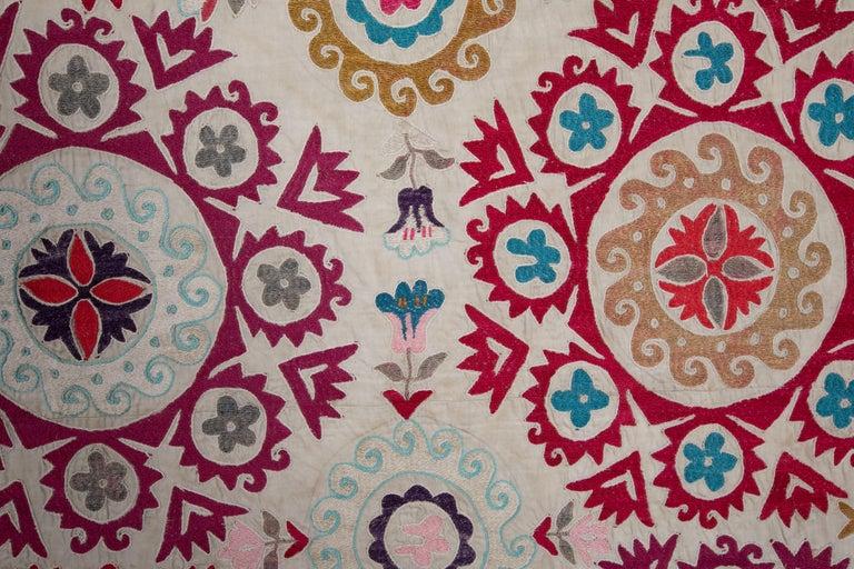 Cotton Ivory Ground Suzani from Uzbekistan, 1970s For Sale