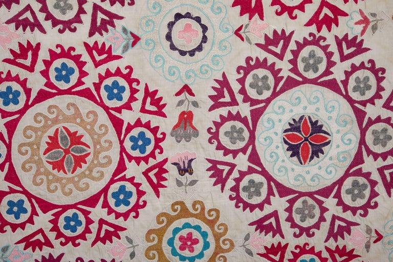 Ivory Ground Suzani from Uzbekistan, 1970s For Sale 1