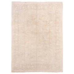 Ivory Hand Knotted Afghan Carpet, Wool and Silk