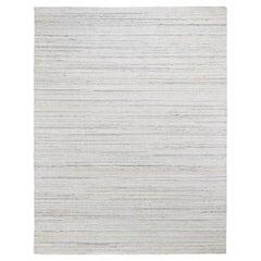 Ivory Hand Loomed Pure Wool Plain Modern Oriental Rug