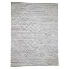 Ivory Hand Spun Undyed Natural Wool Modern Hand Knotted Oriental Rug