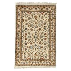 Ivory Indo Persian Kashan Design Rug