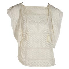 Ivory Isabel Marant Embroidered Silk Blouse