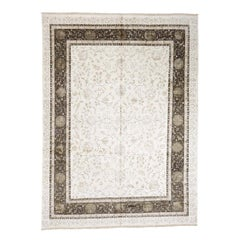 Ivory Kashan Wool and Silk Hand Knotted Oriental Rug