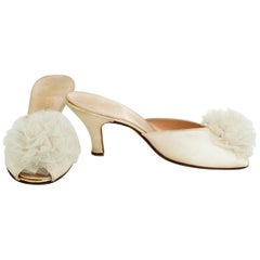 Ivory Kitten Heel Peep-Toe Boudoir Mule Slippers w Tulle Rosettes - 7.5B, 1950s