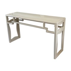 Ivory Lacquered Chinese Chippendale Style Console Table