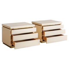 Ivory Lacquered Wood + Brass Inlay Nightstand Cabinets by Jean Claude Mahey