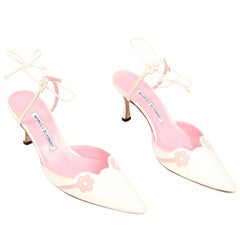 Ivory Leather Manolo Blahnik Shoes With Pink Daisy Flowers and Ankle Straps