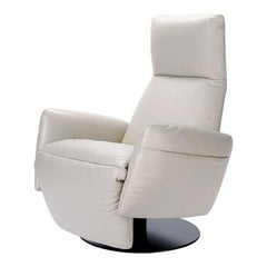 Ivory Leather Recliner Lounge Chair, Poltrona Frau