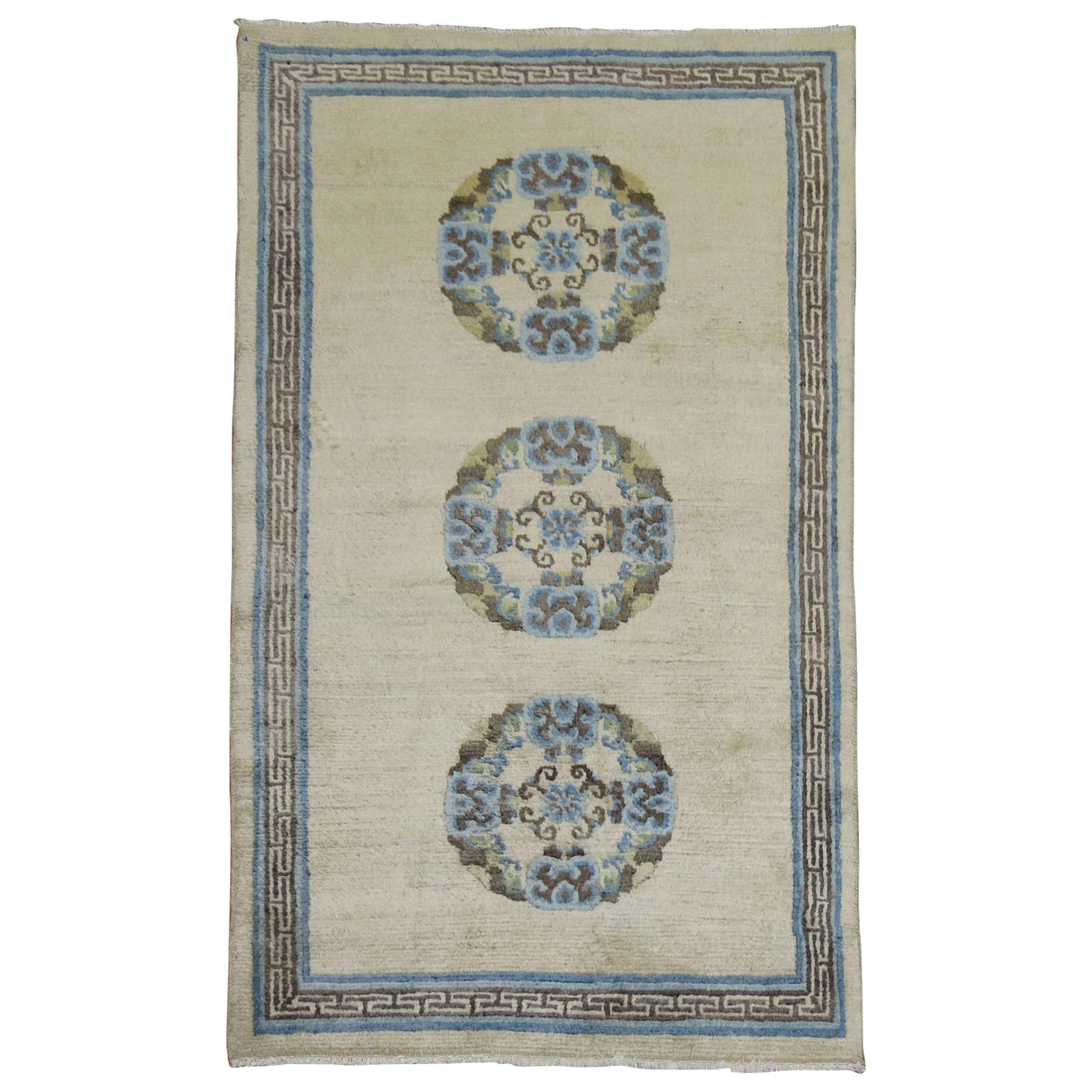Ivory Light Blue Brown 20th Century Hand Knotted Wool Tibetan Scatter Throw Rug