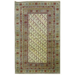 Ivory Light Blue Red Vintage Caucasian Shirvan Rug