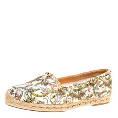 Ivory Multicolor Canvas Ares Spiked Espadrilles Flats Size 39