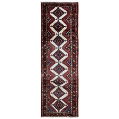 Ivory Persian Hamadan Pure Wool Hand Knotted Runner Oriental Rug