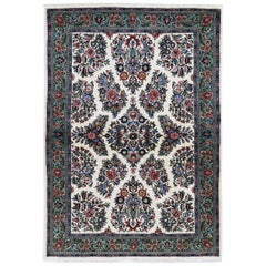 Ivory Persian Sarouk Pure Wool Hand Knotted Oriental Rug