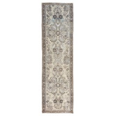Ivory Old and Worn Down Persian Lilahan Hand Knotted Runner Oriental Rug