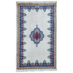 Ivory Old Persian Tabriz circa 1940, Signed Good Condition Hand Knotted Oriental