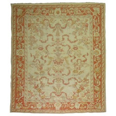 Ivory Orange Antique Turkish Oushak Room Size Carpet