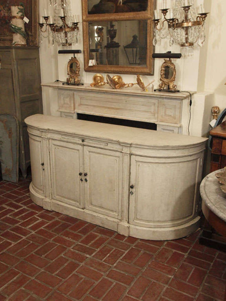 Ivory Painted Oak Buffet For Sale 5