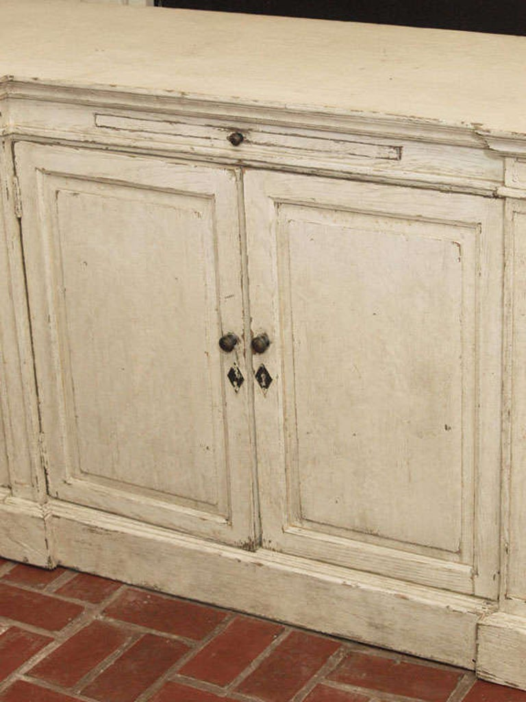 Ivory Painted Oak Buffet For Sale 1