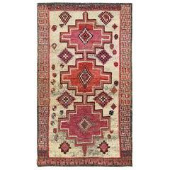 Ivory Persian Shiraz Handmade Cropped Thin Bohemian Wool Vintage Rug