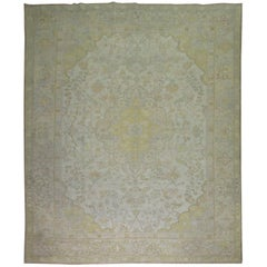 Ivory Pink Yellow Antique Turkish Oushak Rug, Early 20th Century